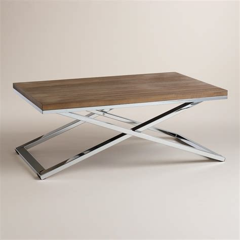 chrome coffee table wood and chrome pierceson coffee table world market