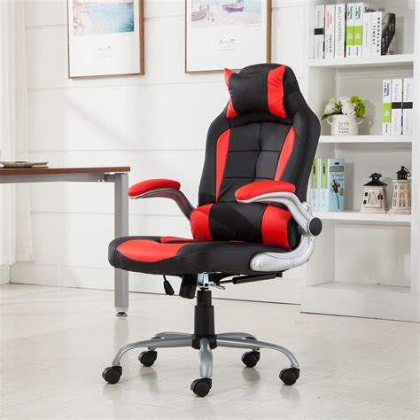 Belleze Racing Reclining Executive Chair racing office chair reclining back padded headrest pu leather adjustable