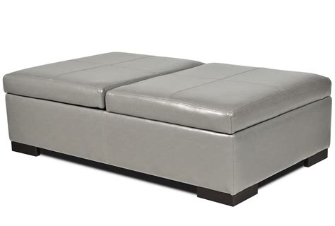 Interesting White Leather Large Square Storage Ottoman Of Large Ottomans With Storage