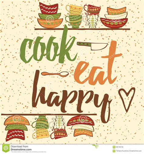 Kitchen Cabinet Quotes Hand Drawing Banner With Ouote About Cooking Cook Eat