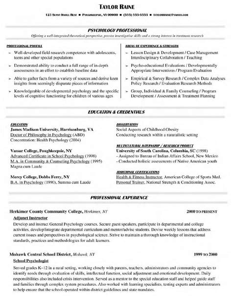psychology curriculum vitae sle 28 images exles of clinical psychology cv application letter