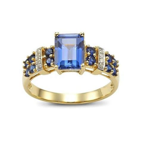 cincin wanita model blue sapphire kotak ring size 6 usa
