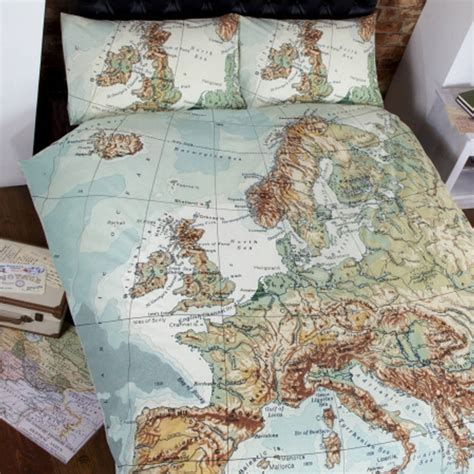 globe map vintage double duvet set by ciel