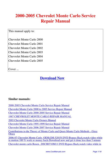 2000 2005 Chevrolet Monte Carlo Service Repair Manual By
