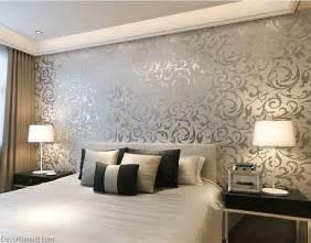 Modern Wallpaper Designs For Bedrooms Popular 3d Design Silver Bedroom Wallpaper Modern Style Decorgenius Dgwp004 Dgwp004slv 40
