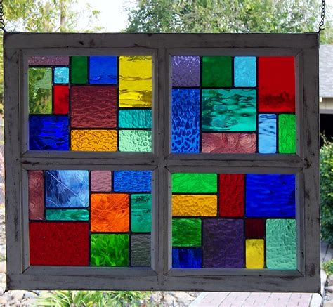 Color Panel Glasses multi color wood framed stained glass window