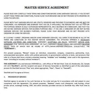 Master Service Agreement Template master service agreement 9 free sles exles format
