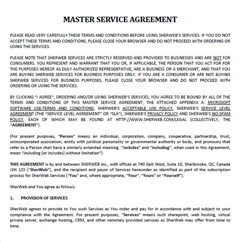 sample master service agreement  documents   word