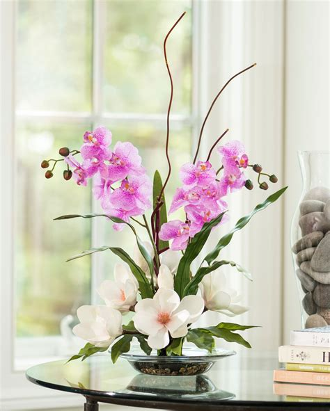 magnolias orchids silk flower arrangement for home and