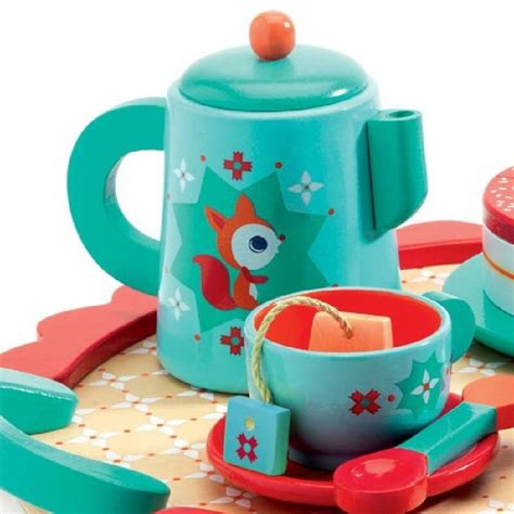 djeco wooden birthday tea party set wooden toy birthday party tea set by crafts4kids