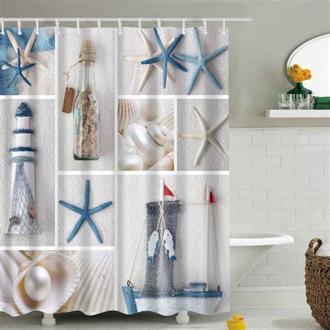 Seashell Shower Curtain Bathroom Set Sea Shell Starfish Scenery Waterproof Bathroom Shower Curtain With 12 Hooks Set