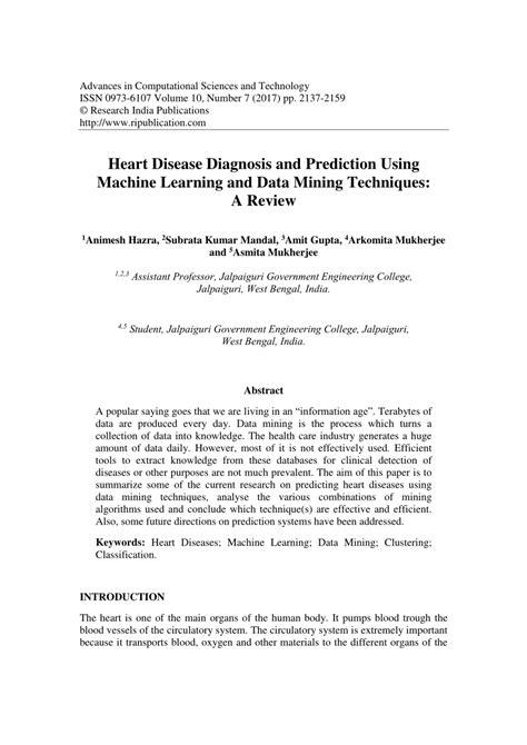 (PDF) Heart Disease Diagnosis and Prediction Using Machine