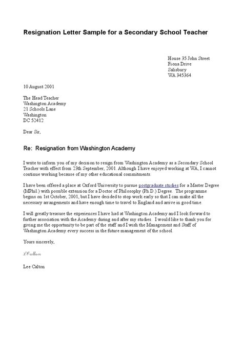 Resignation Letter Education Sle Resignation Letter Sle For A Secondary School Hashdoc