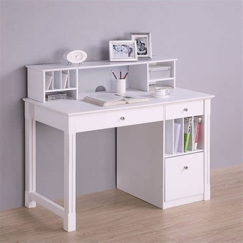 White Desk For solid wood desk with hutch in white dw48d30 dhwh