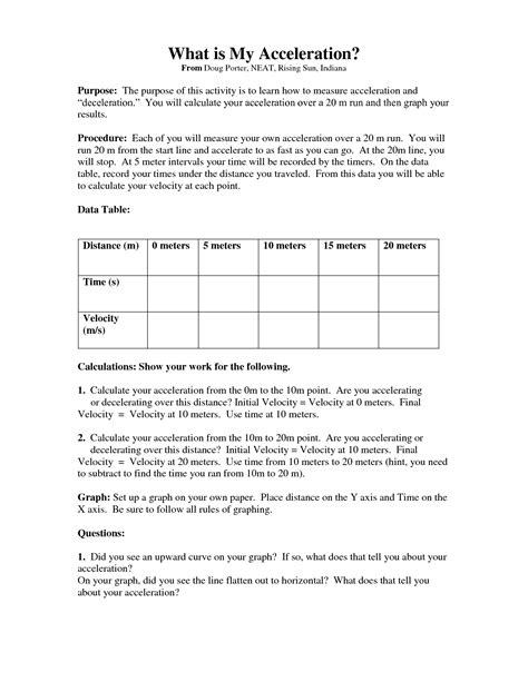 Velocity And Acceleration Worksheet by 17 Best Images Of Speed Formula Worksheet Speed And