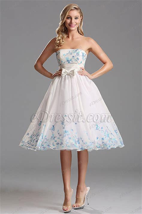 flattering strapless white tea length party dress