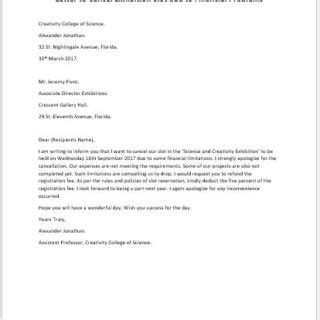 Cancellation Letter Email email to cancel exhibition slot writeletter2