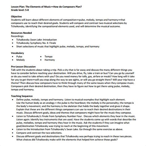 Sample Music Lesson Plan Template   8  Free Documents in