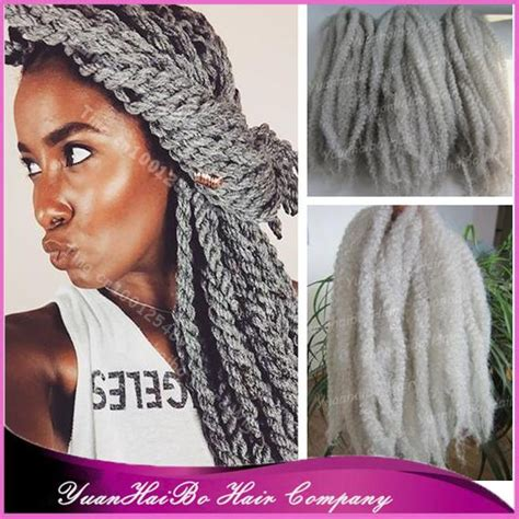 marley twist hair gray stock 20 quot fold silver grey synthetic hair afro kinky