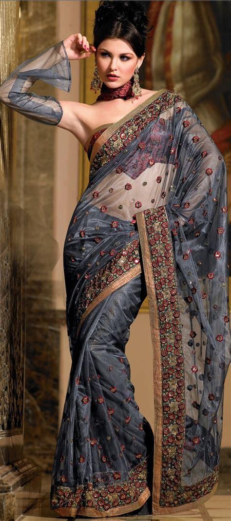 hairstyles in net saree dark blue net saree w blouse indian ladies fashion styles