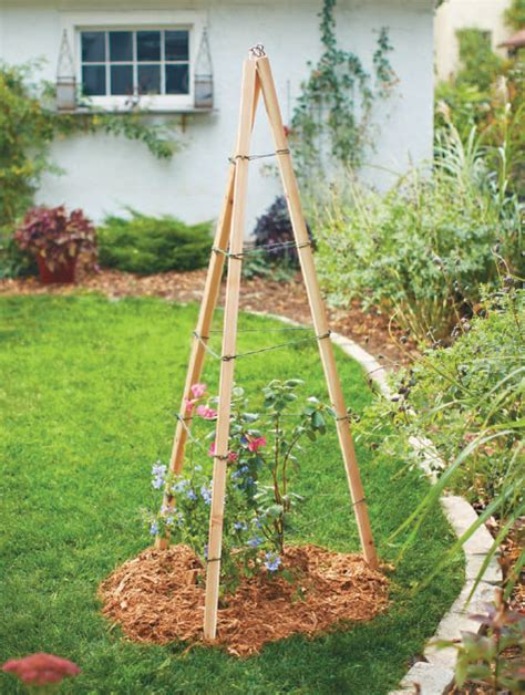 Garden Tripod Trellis how to make an easy tripod trellis quarto homes