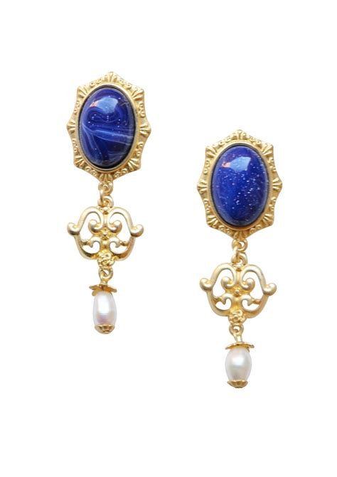 vintage inspired statement earrings in navy happiness