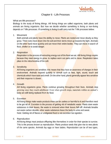 cbse class 10 science chapter 6 life processes revision