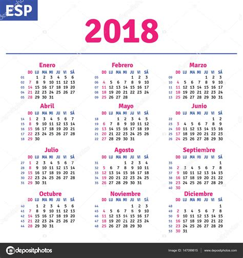 Descargar Calendario 2018 Espa 241 Ol Calendario 2018 Vector De Stock 169 Rustamank