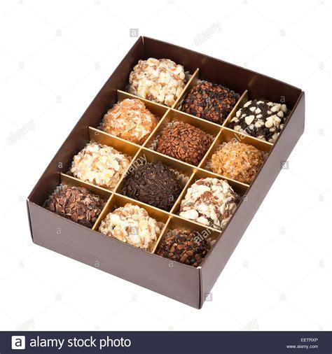 Handmade Chocolate Boxes - handmade chocolates box isolated on white background stock