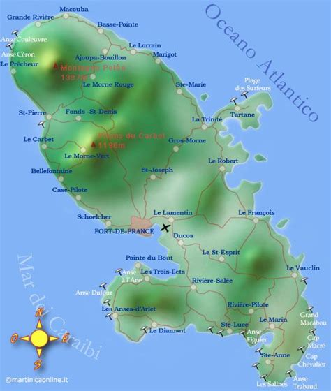 martinique map geography of martinique caribbean island martinicaonline