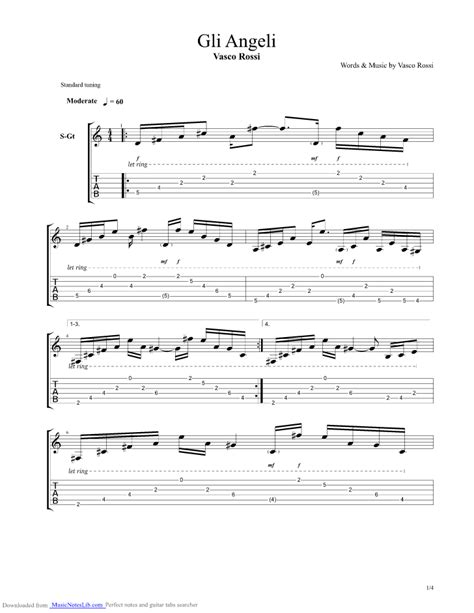 vasco vita spericolata accordi gli angeli guitar pro tab by vasco musicnoteslib