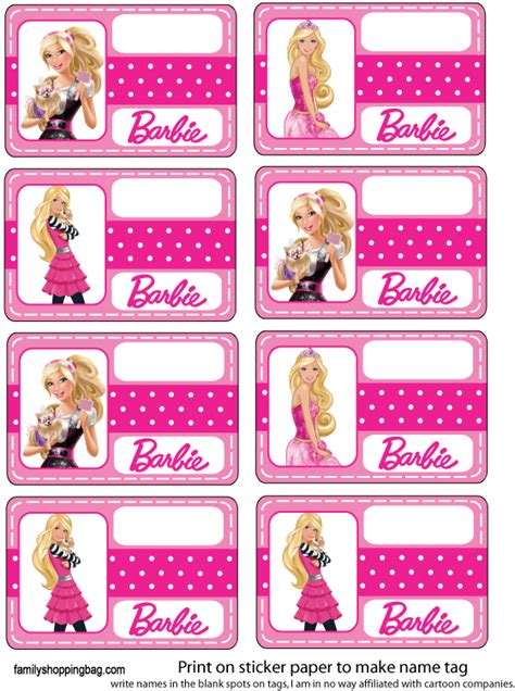 free printable barbie birthday decorations http www familyshoppingbag com barbie printables htm