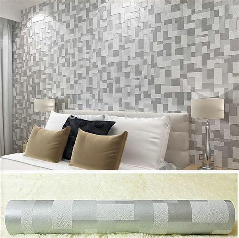 desain kamar abu abu non woven timbul 3d stereoscopic wallpaper abu abu