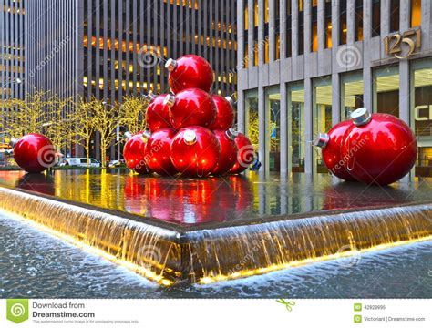 giant christmas ornaments decoration in nyc new york cigiant ornaments in midtown manhattan on december 17 2013 new york city