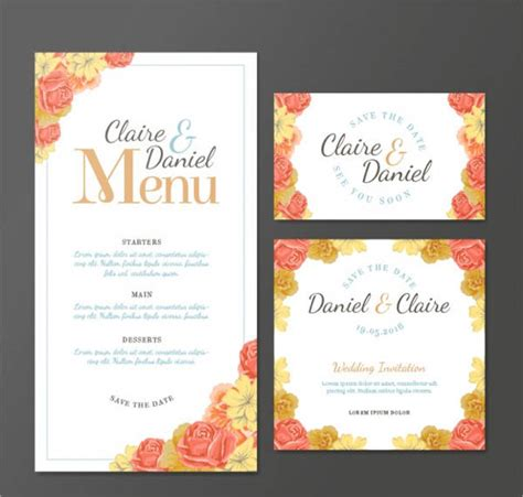 Free Printable Wedding Menu Card Templates by Wedding Menu Card 9 Free Psd Eps Vector Free