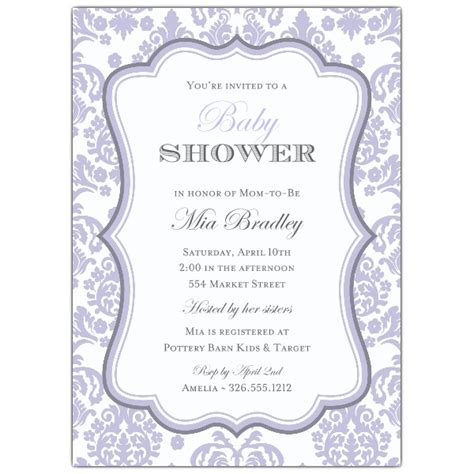 Lavender Baby Shower Invitations by Damask Lavender Baby Shower Invitations Paperstyle