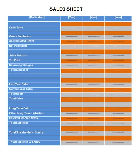 sales page template sales sheet sle 6 documents in pdf word excel