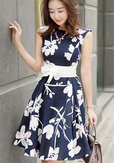 Id Belt Midi Dress Blue blue floral belt bow sleeveless sweet midi dress