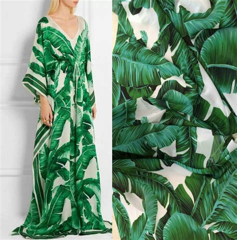 dg green banana leaf chiffon fabrics satin fabric for europe and the united states dress fabric
