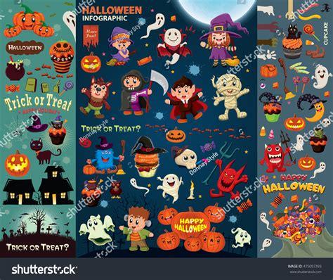 poster design kit vintage halloween poster design set vector stock vector