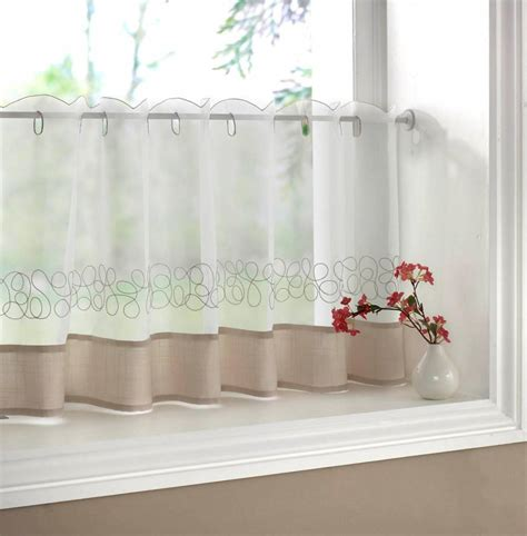 diner curtains deco cream embroidered voile cafe curtain each curtain