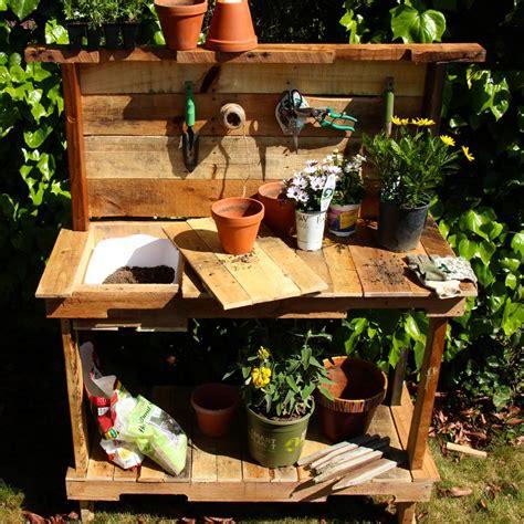 rustic potting bench garden woodworking