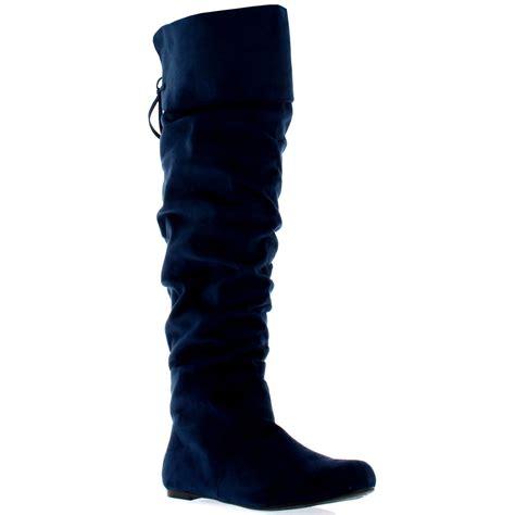 womens flat thigh high winter biker shoes fashion