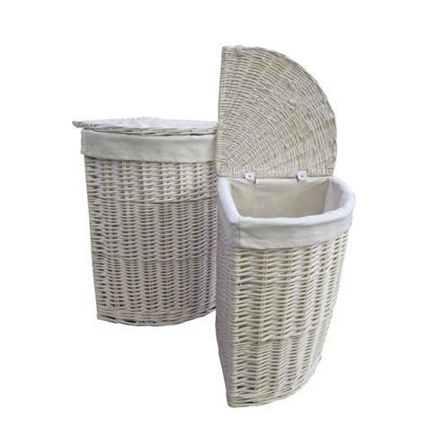 laundry basket keswick white wash corner wicker laundry basket