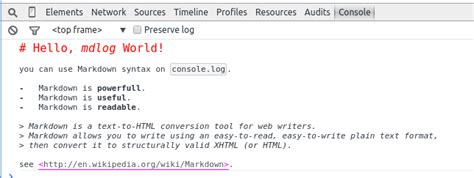 browser console log github makenowjust mdlog markdown on console log
