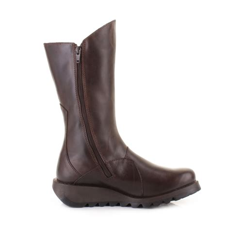 brown flat boots womens fly mes 2 brown leather mid calf ankle