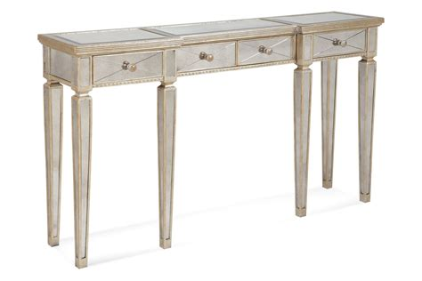Mirror Console Table Borghese Mirrored Console Table With Drawers Antique Mirror Silver Leaf Finish 8311 472
