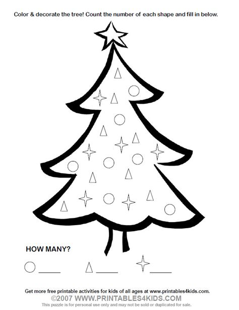 Free Christmas Tree Star Coloring Pages Tree Math Coloring Page