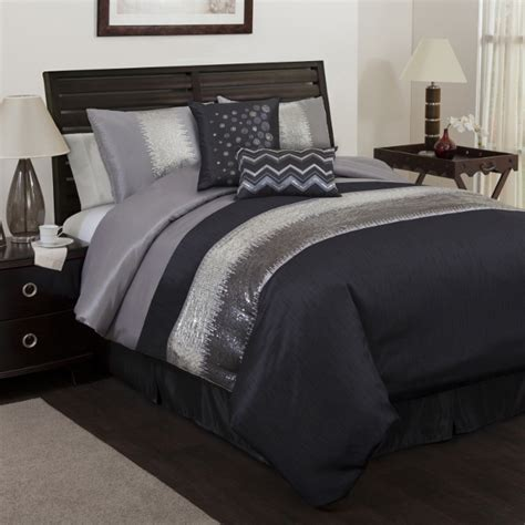 black grey comforter 6pc black gray sequin pieced embroidered faux silk