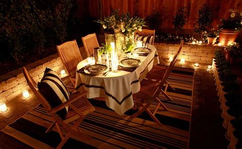 Patio Table Candles Outdoor Dining Table Decor With Candles And Fancy Rug